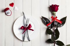 Valentines day table setting romantic dinner marry me wedding engagement ring in box Stock Photography