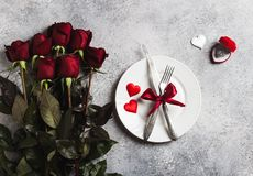 Valentines day table setting romantic dinner marry me wedding engagement ring Stock Photography