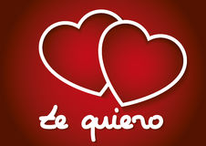 Valentines day te quiero. Te quiero words with two hearts in red. february 14, Valentines day, love concept. Love symbol Royalty Free Stock Photo