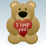 Valentines Day Teddy Bear. An illustration of a teddy bear holding a heart with the text I Love You. Background placed on separate layer Stock Photography