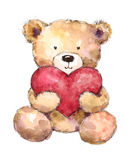 Valentines Day Teddy Bear Holding a big heart Watercolor Hand Drawn Royalty Free Stock Image
