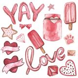Valentines Day text Balloon-Love. Vector Watercolor set of elements for Valentine`s day. Scrapbook design elements. Typography poster, card, label, banner Stock Photos