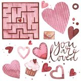 Valentines Day text. You are loved. Watercolor set of elements for Valentine`s day. Scrapbook design elements. Typography poster, card, label, banner design Royalty Free Stock Photos