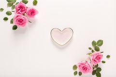Valentines Day theme with rose petals. And heart shaped decorations Royalty Free Stock Photos