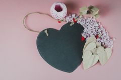 Valentines day themed objects - for use as backgrounds or conceptual images - with copy space. The prevailing colours are pink with copy space in most images royalty free stock photography