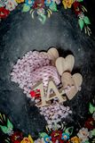 Valentines day themed objects - for use as backgrounds or conceptual images - with copy space. The prevailing colours are pink with copy space in most images stock photo