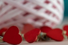 Valentines day themed objects - for use as backgrounds or conceptual images - with copy space. The prevailing colours are pink with copy space in most images royalty free stock photo