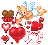 Valentines Day Themed Pixel Art Icons Stock Photos