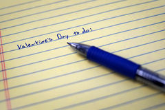 Valentines Day To Do List on Paper with Blue Pen Stock Image