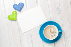 Valentines day toy heart, blank greeting card and coffee cup Royalty Free Stock Photography
