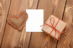 Valentines day toy heart, blank greeting card and gift box Stock Photo