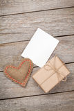 Valentines day toy heart, blank greeting card and gift box Stock Photography