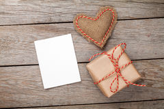 Valentines day toy heart, blank greeting card and gift box Royalty Free Stock Photo