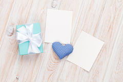 Valentines day toy heart, blank photo frames and gift box Stock Photography
