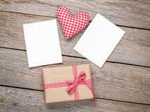 Valentines day toy heart, blank photo frames and gift box Stock Images