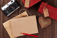 Valentines day toy heart, camera, gifts and notepad Stock Photography