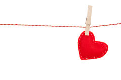 Valentines day toy heart hanging on rope Royalty Free Stock Photos