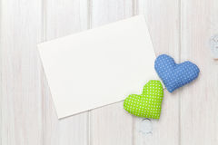 Valentines day toy hearts and greeting card Royalty Free Stock Photo