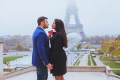 Valentines day travel destination, couple in Paris royalty free stock photo