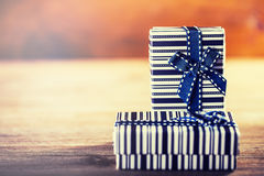 Valentines day. Two birthday gifts with ribbons. Royalty Free Stock Images