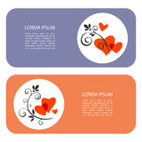 Valentines day-03. Two frames with hearts isolated on white background. Valentine�s Day vector illustration. Design elements for greeting cards and banners Royalty Free Stock Image