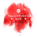 Valentines Day card. Valentines Day type design on red watercolor background. Vector illustration Stock Photo