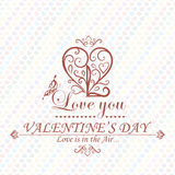 Valentines Day type text calligraphic headline. With love. Vector Royalty Free Stock Images