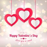 Valentines day typographical background with. Hanging paper hearts. Shining background with blurred bokeh lights. This vector illustration can be used as royalty free illustration