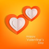 Valentines day typographical background with. Hanging paper hearts .This vector illustration can be used as greeting card or wedding invitation for your design vector illustration