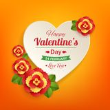 Valentines day typographical background with paper. Heart and flowers .This vector illustration can be used as greeting card or wedding invitation for your royalty free illustration