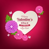 Valentines day typographical background with paper. Heart and flowers .This vector illustration can be used as greeting card or wedding invitation for your vector illustration