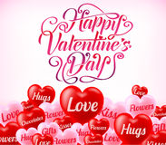 Valentines Day Typography Greeting Card With Lot Of Red Stock Photo
