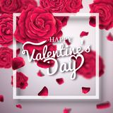 Valentines day typography poster with realistic roses. royalty free stock photos