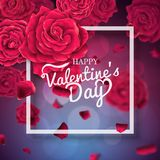 Valentines day typography poster with realistic roses. royalty free stock photo