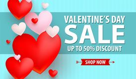 Valentines Day up to 50% Discount banner. 3D Flat vector Style Royalty Free Stock Photography