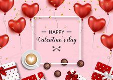 Valentines day. Vector background with hearts, gift boxes, confetti, bow and ribbon, coffee and chocolate. Sweets Royalty Free Stock Photo