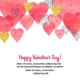 Valentines Day vector background with watercolor hearts Stock Image