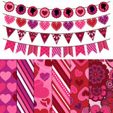 Valentines Day Vector Backgrounds and Bunting Royalty Free Stock Image