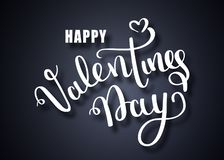 Valentines day vector card. Happy Valentines Day lettering on a white background. Vector Illustrations. Handwritten royalty free illustration