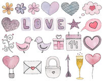 Valentines day vector clip art. Watercolor wedding symbol Stock Image
