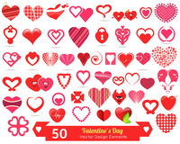 50 Valentines Day Vector Design Elements. 50 different Valentines Day illustrations Royalty Free Stock Images