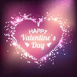 Valentines Day - vector greeting card with glitter red hearts on shiny background. Valentines Day - vector greeting card with glitter hearts on shiny galaxy Stock Images