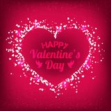 Valentines Day - vector greeting card with glitter red hearts on shiny background. Valentines Day - vector greeting card with glitter hearts on shiny background Royalty Free Stock Image