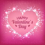 Valentines Day - vector greeting card with glitter red hearts on shiny background. Valentines Day - vector greeting card with glitter hearts on shiny background Stock Photos