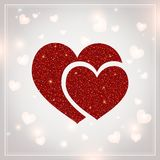 Valentines Day - vector greeting card with glitter red hearts on shiny background.  Royalty Free Stock Photography