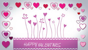 Valentines day vector with heart flowers stock footage