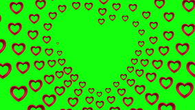 Valentines day vector with heart pattern on green background stock footage