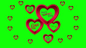 Valentines Day vector with hearts on green background stock video