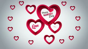 Valentines Day vector with hearts on grey background stock video footage