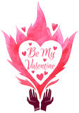 Valentines Day vector illustration. Be My Valentine. Valentines Day greeting card or design element. Cupped hands silhouette and watercolor vector fire with Stock Image